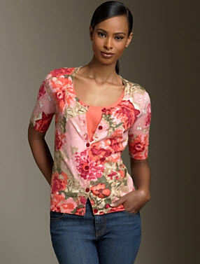 cascading flower cardigan at Talbots