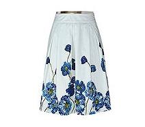 Floral Print Pleat Waist Skirt
