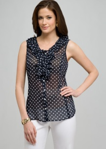 Polka Dot Ruffle Sleeveless Blouse
