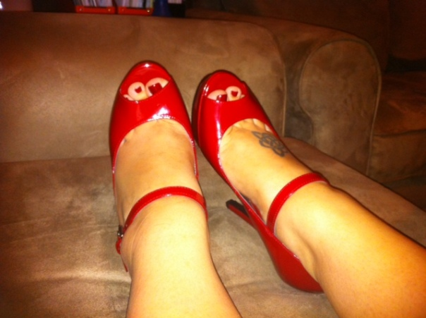 Guess Red Patent Mary Jane Peep Toes