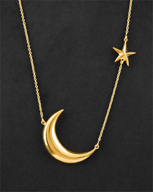 Melinda Maria 18K Plated Moon & Star Necklace
