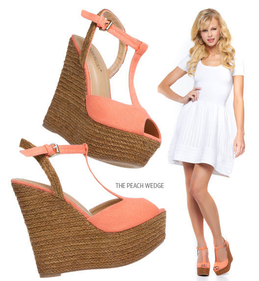 Shoedazzle Peach Wedge