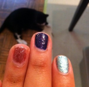 trying on nail polish
