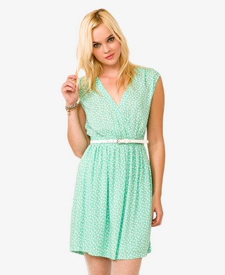Ditsy Floral Surplice Dress w/ Belt  || Forever21.com || $19.80