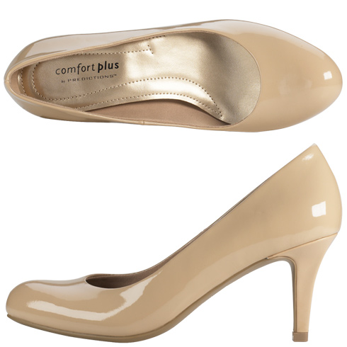Comfort Plus by Predictions Women's Karmen Pump $20 || Payless.com || Nude/Tan/Beige Patent