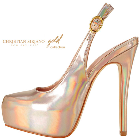 Christian Siriano Women's Cynthia Sling || Payless.com || Champagne iridescent also available in a taupe print