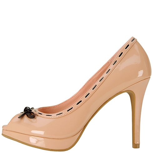 Fioni Women's Kipsie Stitch Peep Toe Heel $30 || Payless.com || Pink Patent also available in black