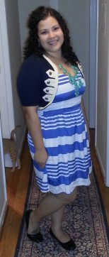 d.RA Mona Dress (clearance from Piperlime) || Thrifted Nautical Shrug $3.59 || Thrifted Lands End Ballet Flats $5