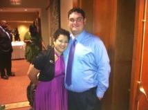 Magenta Purple Short Henkaa Sakura Convertible Dress at my friend's wedding (and my hubby)
