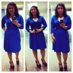 Blue wrap dress by Molly - old