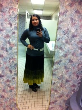 Old Banana Republic ombre velvet skirt + thrifted Michael Stars turtleneck