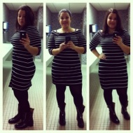 White House Black Market striped boatneck dress - thrifted