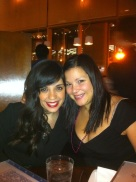 With a Friend - Bachelorette festivities wearing a black Suzi Chin for Maggy Boutique Dress