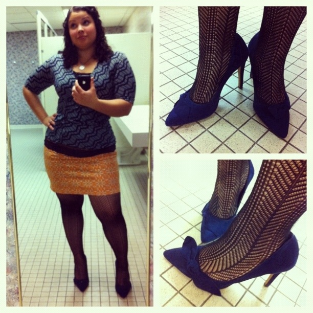 OOTD - Sole Society Elisa pumps, Rafaella mini skirt + Merona belted wrap top (both thrifted)