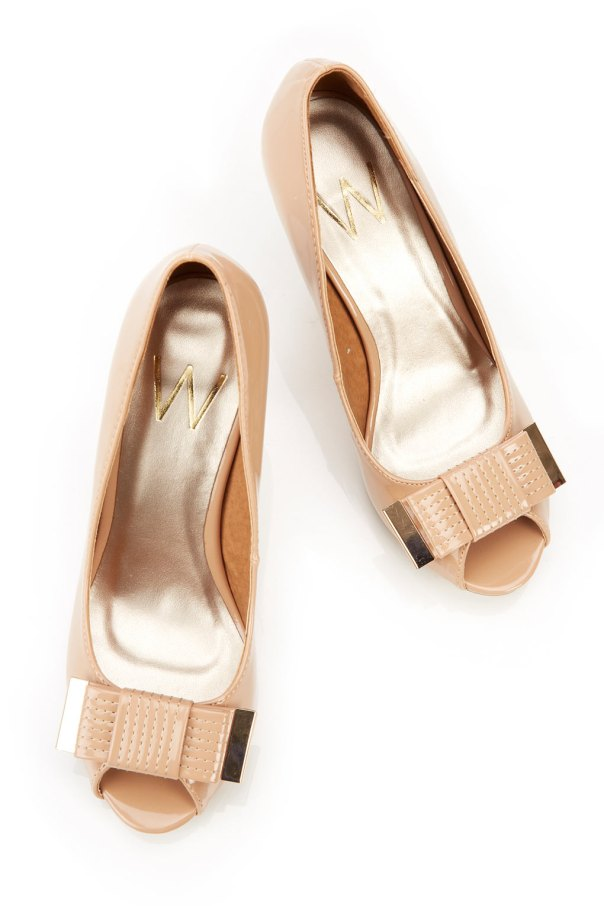 Nude Bow Peep Toe Court Shoe $62 || Wallis Fashion | Beige/Nude Patent