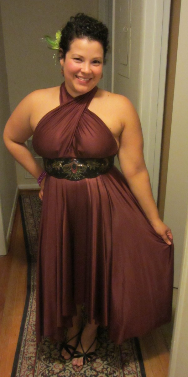 Cinnamon Butter By Nadia Satin Convertible dress for work party