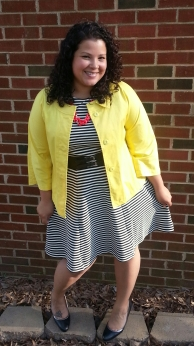 Joe Fresh striped dress, talbots jacket