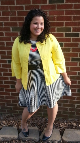Joe Fresh striped dress, talbots jacket
