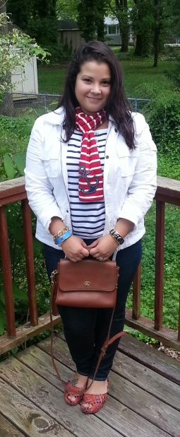 lands end jacket, vintage coach bag, striped tee, striped scarf