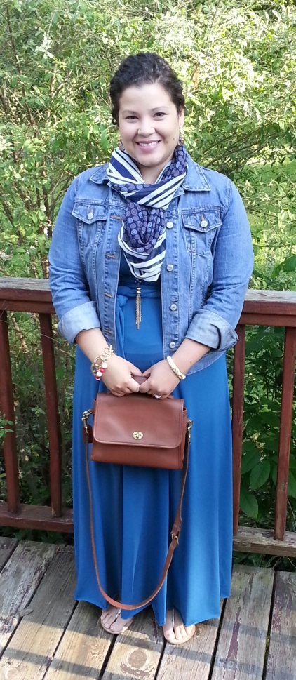 Von Vonni Convertible Dress in Teal + Denim Jacket + Vintage Coach Bag + Scarf