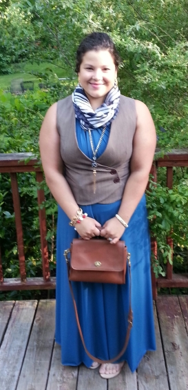 Von Vonni Convertible Dress in Teal + Vest + Vintage Coach Bag + Scarf