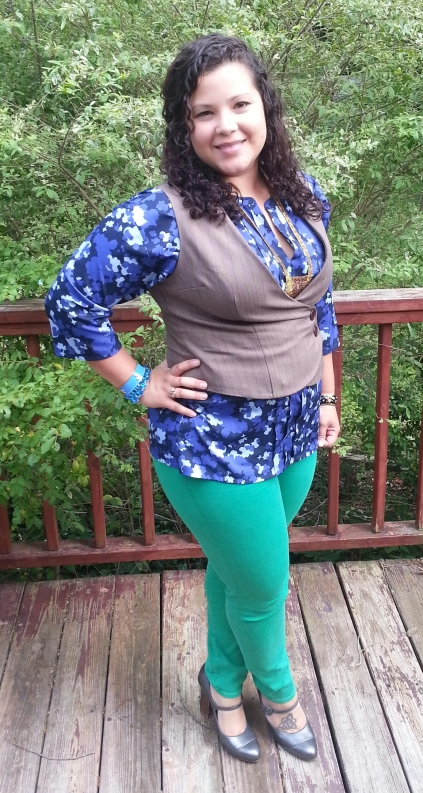 Banana Republic Blouse + Green David Kahn Denim Skinnies + Cole Haan Mary Janes + Vest