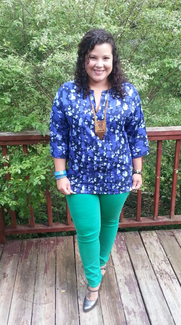 Banana Republic Blouse + Green David Kahn Denim Skinnies + Cole Haan Mary Janes
