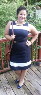 More Nautical! Navy Blue + White Sheath dress + Nautical charm necklace + blue pumps