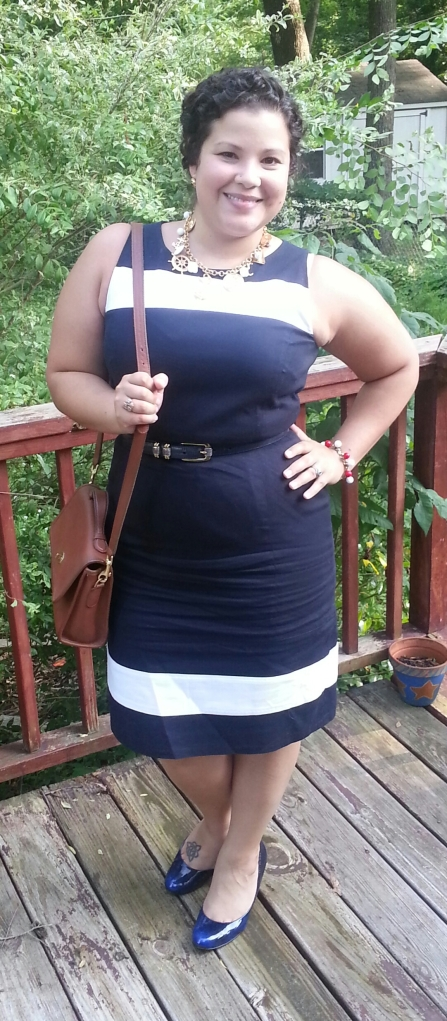 More Nautical! Navy Blue + White Sheath dress + Nautical charm necklace + blue pumps