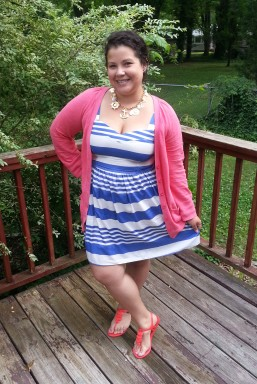 More Nautical - striped dress + salmon cardigan + mel for forever21 sandals + nautical charm necklace