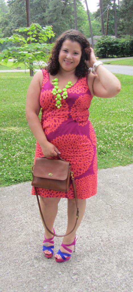 Boden Dress + Vintage Coach Bag + bubble necklace + Sole Society Ruthie sandals