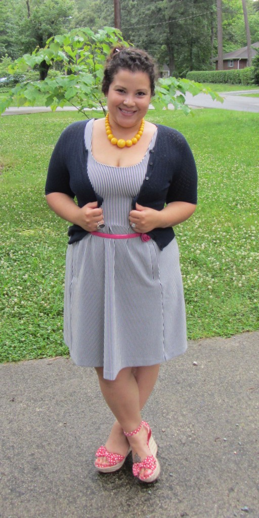 Banana Republic Striped Dress + LOFT cardigan + MIA polka dot espadrille wedge + vintage necklace
