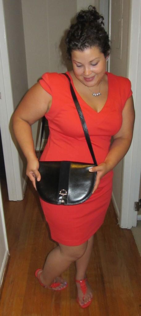 BCBGeneration ponte dress + Mel for Forever21 sandals + Umbertyo Firenze vintage shoulder bag