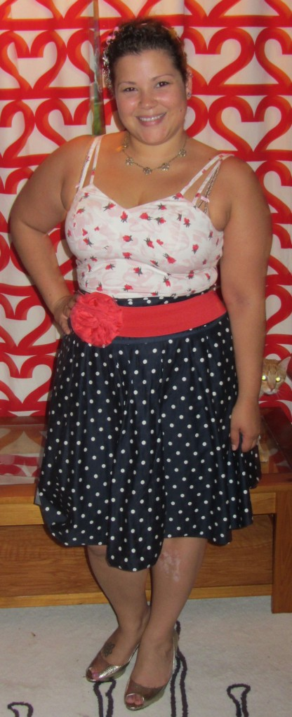 Anthropologie top + New York and Co polka dot skirt + NY&co. flower belt + Cole Haan croc metallic pumps