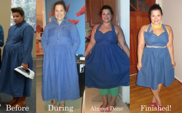 transformation diy denim dress refashion