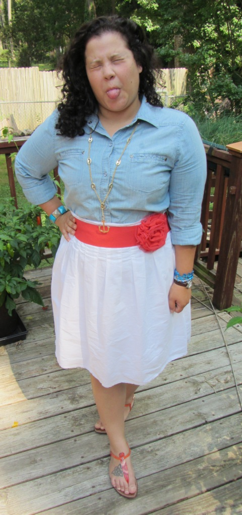 chambray shirt + white skirt