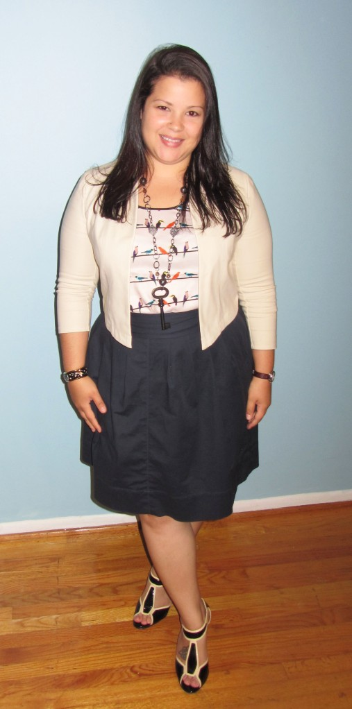 The Limited Bird Top + Rafaella Skirt + Key Necklace + Sofft Shoes + Vintage Coach Willis + Vivienne Tam Jacket