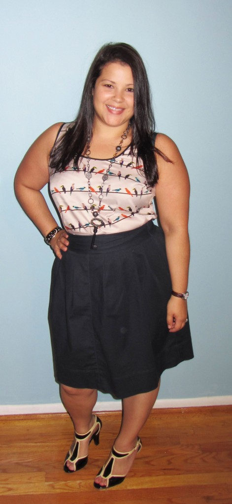 The Limited Bird Top + Rafaella Skirt + Key Necklace + Sofft Shoes