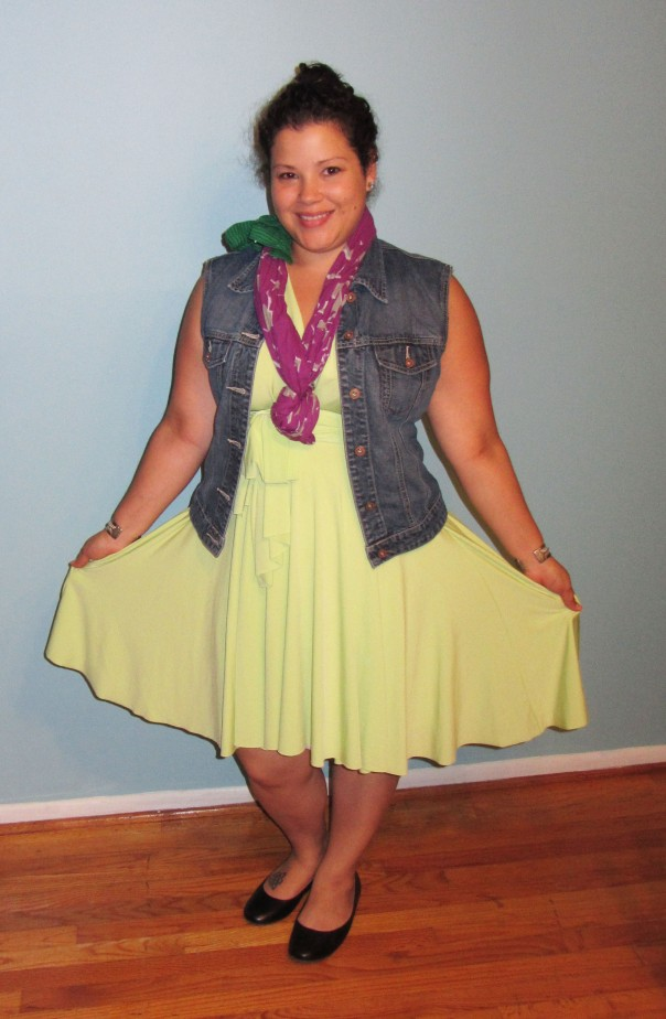 lime green von vonni transformer dress + denim vest