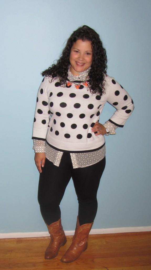polka dot sweater || st john circle print blouse || zara leggings || cowboy boots || veryjane statement necklace