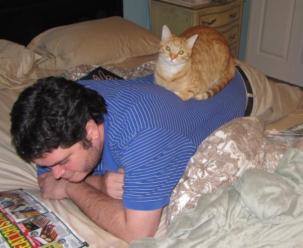 hubby + ginger tabby cat Ulysses