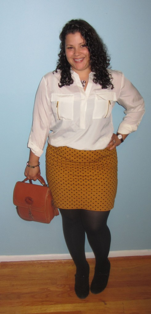 Gap polka dot mustard mini skirt || Vintage Dooney bag || black tights || Clarks mary janes || Michael Michael Kors blouse