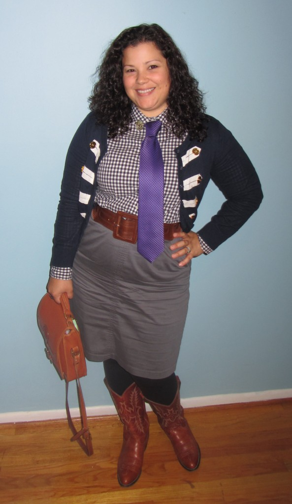 thrift style thursday: menswear || lands end canvas gingham shirt || forever21 military cardigan || NY&co. grey skirt || Cowboy Boots || vintage Dooney Bag