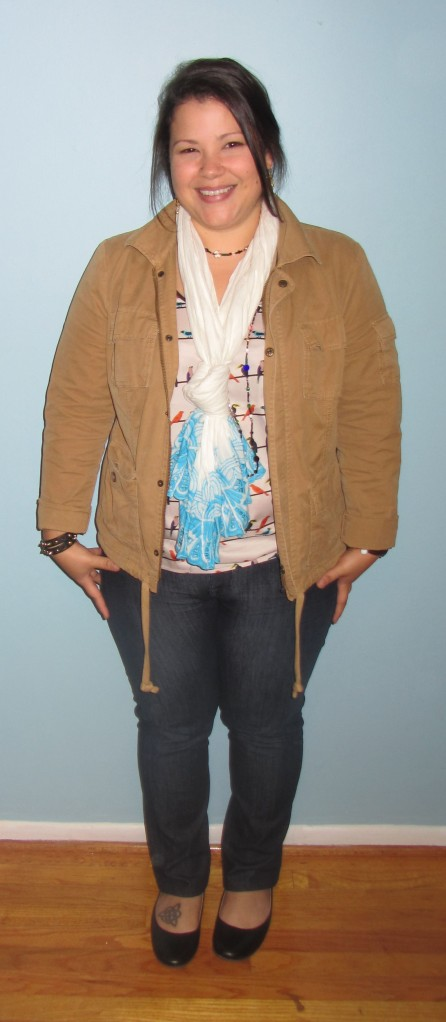 Lands End canvas cargo jacket \\ old navy cotton scarf \\ the limited birds on a wire tank \\ david kahn skinny jeans \\ lands end flats \\ thrifted necklace