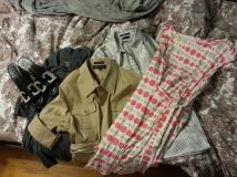 Tory Burch sandals \\ Lands End tee \\ Jones New York safari shirt \\ Nine West polka dot blouse \\ Donna Morgan polka dot dress