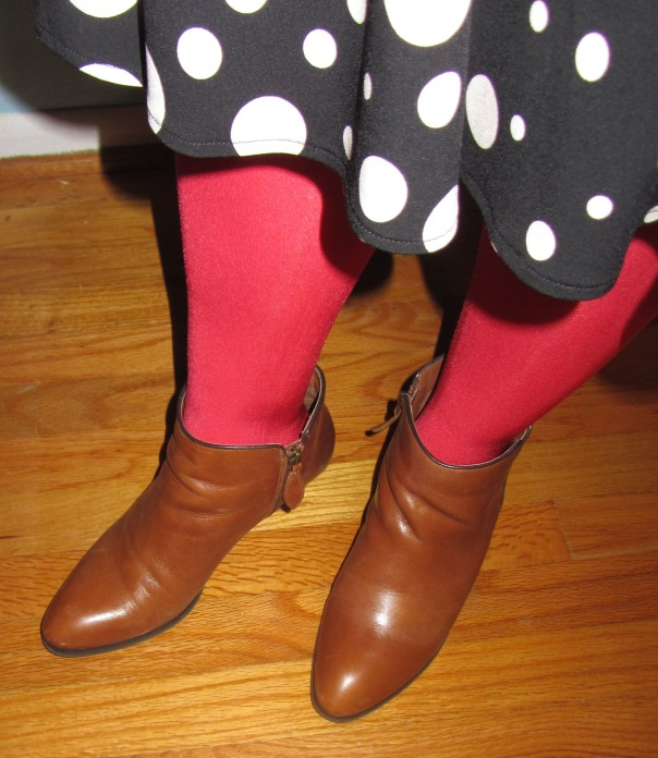 thrift style thursday polka dot dress franco sarto quasar bootie
