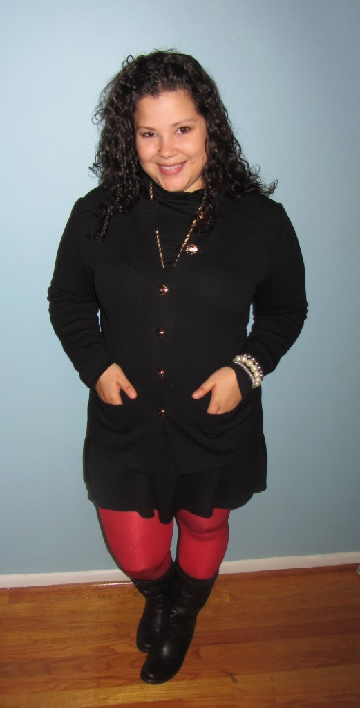 vintage st john sweater cardigan + bright red tights