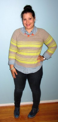 Merona striped sweater, chambray top, skinnies