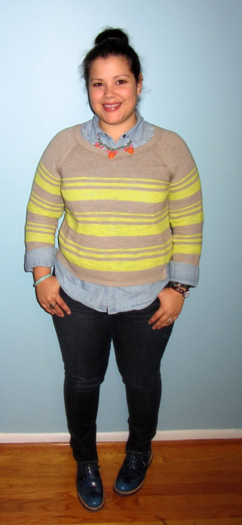 striped sweater, statement necklace, chambray shirt, skinny jeans, sock bun, and Rockport TruWALK zero welt oxford