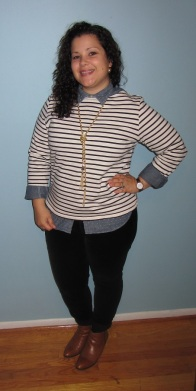 Lands End striped long sleeved shirt, chambray top, lauren conrad velvet skinnies